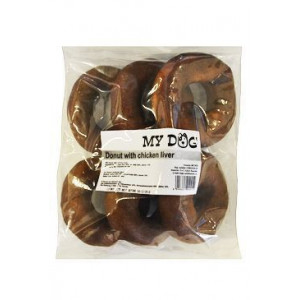 Pochoutka Donut z buvolí kůže s kuřecími játry 6 ks