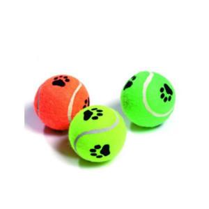 Hračka pes Míč tenisový pískací s tlapkou 6 cm KAR 3 ks