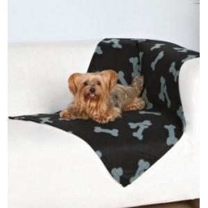 Deka pro psy fleece Beany Černá a kosti 100x70 cm TR