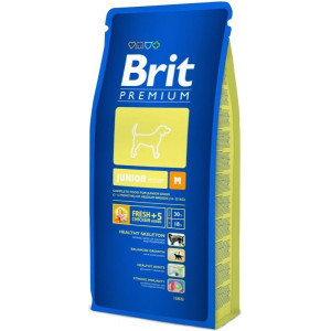Brit Premium Dog Junior M 15 kg + 3 kg ZDARMA