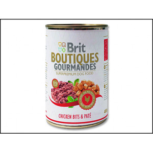 Konzerva BRIT Dog Boutiques Gourmandes Chicken Bits & Paté 400g