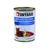 Konzerva ONTARIO Cat Beef, Salmon, Sunflower Oil 400g