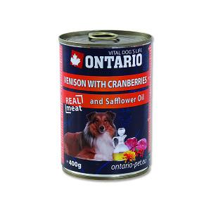 Konzerva ONTARIO Dog Venison, Cranberries and Safflower Oil 400g