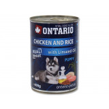 Konzerva ONTARIO Puppy Chicken, Rice and Linseed Oil 400g