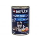 Konzerva ONTARIO Puppy Chicken, Rice and Linseed Oil