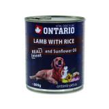 Konzerva ONTARIO Dog Lamb, Rice and Sunflower Oil 800g