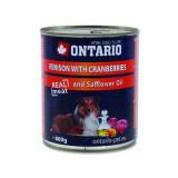 Konzerva ONTARIO Dog Venison, Cranberries and Safflower Oil 800g