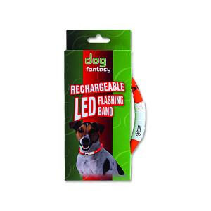 Obojek DOG FANTASY LED světelný oranžový 45 cm 1ks