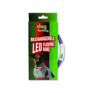 Obojek DOG FANTASY LED světelný fialový 45 cm 1ks