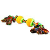 Hračka DOG FANTASY barevná 2 knoty + 2 tenisáky 35 cm 1ks