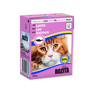 Kousky v omáčce BOZITA Cat s masem z lososa - Tetra Pak 370g