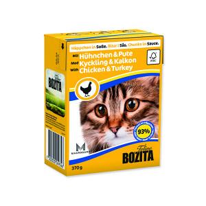 Kousky v omáčce BOZITA Cat s kuřecím a krůtím masem - Tetra Pak 370g