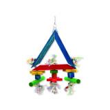 Hračka BIRD JEWEL trojúhelník závěsná dřevo - provaz 36 cm 1ks