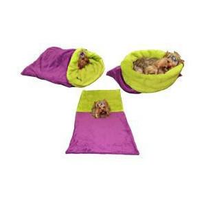Spací pytel 3v1 pes kočka č.43 fialová/sv.zelená
