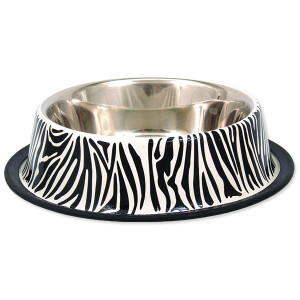 Miska DOG FANTASY nerezová s gumou zebra 25 cm 0,9l