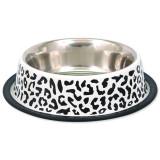 Miska DOG FANTASY nerezová s gumou leopard 33 cm