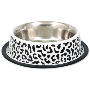 Miska DOG FANTASY nerezová s gumou leopard 33 cm 2800ml