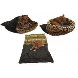 Spací pytel 3v1 XL pro kočky č.13 tm.šedá/leopard