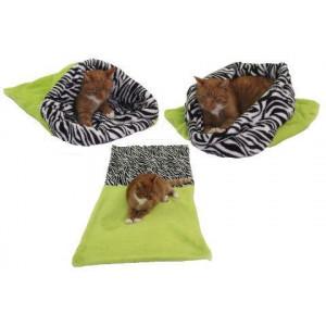 Spací pytel 3v1 XL pro kočky č.10 sv.zelená/zebra