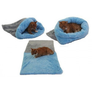 Spací pytel 3v1 de luxe XL  kočka č.5 šedá/sv.modrá