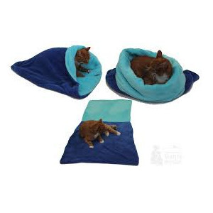 Spací pytel 3v1 XL pro kočky č.4 modrá/tyrkysová
