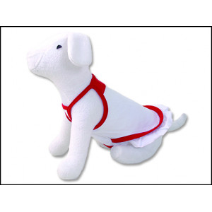Šaty DOG FANTASY Summer bílo-červené S 1ks