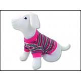 Triko DOG FANTASY s proužky růžové M 1ks