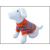 Triko DOG FANTASY s proužky oranžové L 1ks