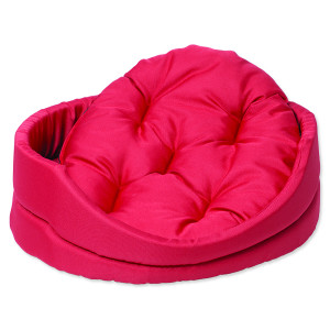 Pelíšek DOG FANTASY ovál s polštářem červený 75 cm 1ks
