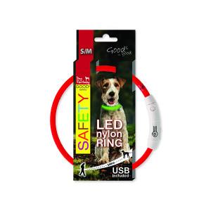 Obojek DOG FANTASY LED nylonový červený S-M 1ks