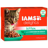 Kapsičky IAMS Kitten Delights Chicken in Gravy multipack 1020g