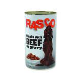 Konzerva RASCO Dog hovězí kousky ve šťávě