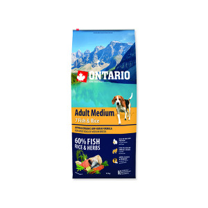 ONTARIO Dog Adult Medium Fish & Rice 12kg