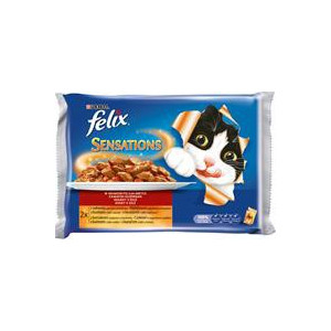Felix Sensations Multipack hovězí,kuře v želé 4 x 100 g