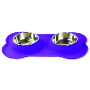 Podložka DOG FANTASY silikonová s miskami fialová S 1ks