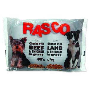 Kapsičky RASCO Dog s kuřecím a hovězím / s jehněčím a kuřecím 4 x 100g 400g