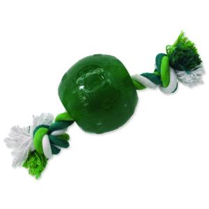 Hračka DOG FANTASY Strong Mint míček gumový s provazem zelený 9,5 cm 1ks