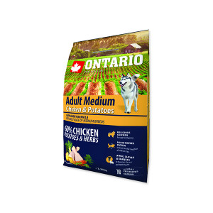 ONTARIO Dog Adult Medium Chicken & Potatoes & Herbs 2,25kg
