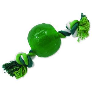Hračka DOG FANTASY Strong Mint míček gumový s provazem zelený 8,2 cm 1ks