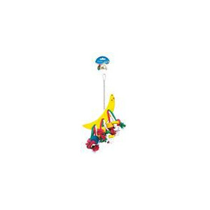 Hračka pták dřevo/bavlna - kostky a půlměsíc Duvo+ 40 cm