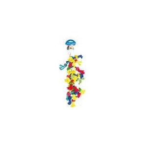 Hračka pták dřevo/bavlna - kostky a uzlíky Duvo+ 38 cm