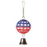 Hračka TRIXIE míč mřížkovaný s řetízkem a zvonkem 7 cm 1ks