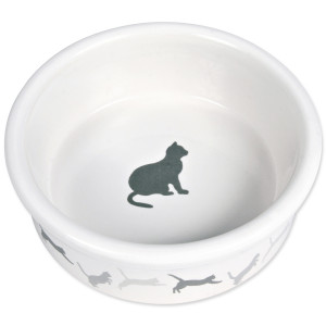 Miska TRIXIE keremická bílá vzor kočka 12 cm 200ml