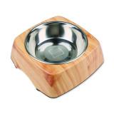 Miska DOG FANTASY nerezová čtvercová dřevo M 350ml