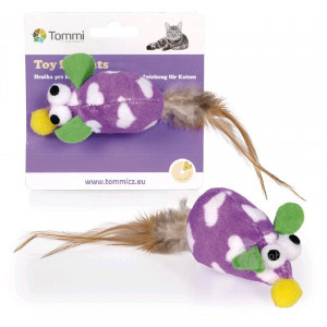 Hračka kočka Myš fialová s peříčkem