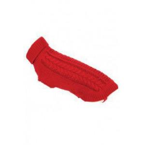 Svetr s copánky pro psy TWIST červená 35 cm Zolux